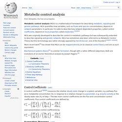 Metabolic control analysis
