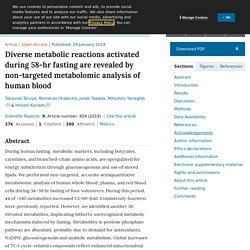 Diverse metabolic reactions activated during 58-hr fasting are revealed by non-targeted metabolomic analysis of human blood