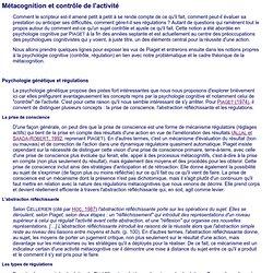Métacognition et contrôle de l'activité