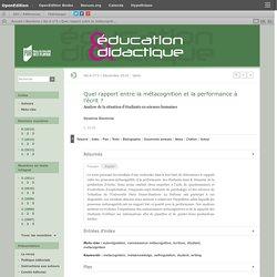 Quel rapport entre la métacognition et la performance à l'écrit?