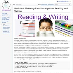 Module 4: Metacognitive Strategies for Reading and Writing