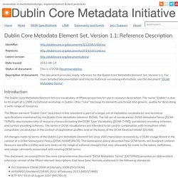 Dublin Core Metadata Element Set, Version 1.1