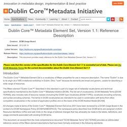 DCMI: Dublin Core™ Metadata Element Set, Version 1.1: Reference Description