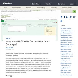 Give Your REST APIs some Metadata Swagger! – Wintellect DevCenter