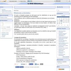 Métadonnée ou Annotation - Le Web Sémantique