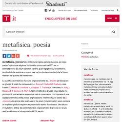 metafisica, poesia nell'Enciclopedia Treccani