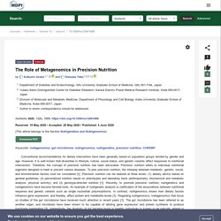 The Role of Metagenomics in Precision Nutrition