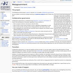 Main Page - Metagovernment - Government of, by, and for all the people