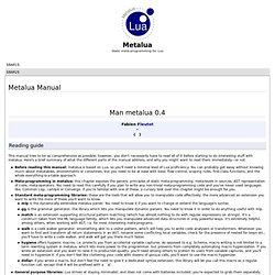 Metalua Manual