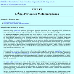 Métamorphoses. Plan