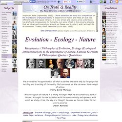 Evolution Ecology Nature: Discussion Metaphysics of Ecology, Nature, Ecological Interconnection