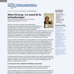 Marc Herceg : Le souci de la métaphysique
