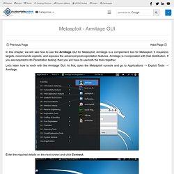 Metasploit - Armitage GUI - Tutorialspoint