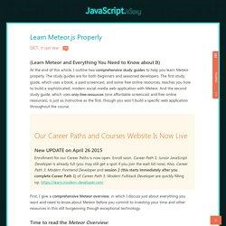 Learn Meteor.js Properly