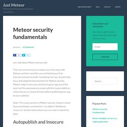 Meteor security fundamentals - Just Meteor