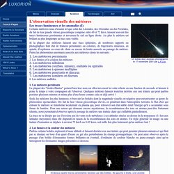 Les météores - Traces lumineuses et anomalies
