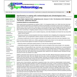 INSAM 24/01/11 Agroforestry in coping with meteorological and climatological risks