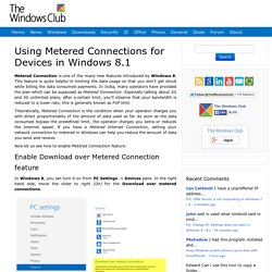 Using Metered Connections for Devices in Windows 8.1