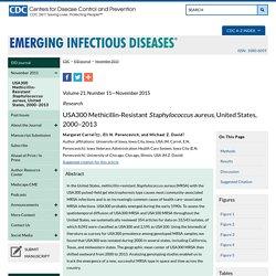 CDC EID – NOV 2015 – Au sommaire notamment: USA300 Methicillin-Resistant Staphylococcus aureus, United States, 2000–2013 ;