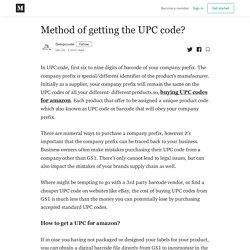 Method of getting the UPC code? - Getupccode - Medium