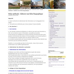 Fiche méthode : élaborer une fiche biographique - Lycée Jacques Monod, CLAMART