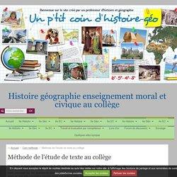 Méthode de l'étude de texte au collège - Un p'tit coin d'histoire-géo