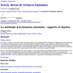 Revue Tracés (2011), La Méthode d'évaluation aléatoire: apports et limites