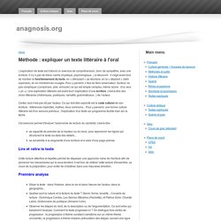 Méthode : expliquer un texte littéraire à l'oral