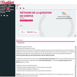 Méthode de la question de corpus - Cours - Fiches de révision