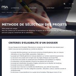 Méthode de sélection des projets