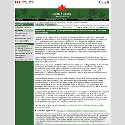 SANTE CANADA - Méthodes chimiques - Compendium de méthodes d'analyse chimique des aliments