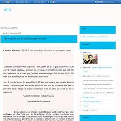 Méthodes BTS - Copie d'un très bon… - Corpus de documents… - Sujet de BTS 2013 +… - Méthode de la… - Méthode BTS Français - Artis