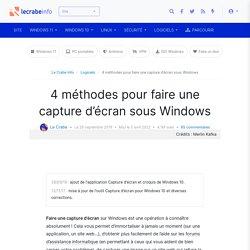 4 méthodes pour faire une capture d'écran sous Windows - Le Crabe Info