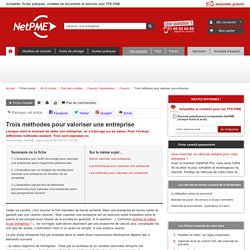 Trois méthodes pour valoriser une entreprise - NetPME