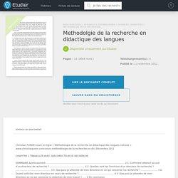 Methodolgie de la recherche en didactique des langues - Rapports de Stage - Arwa15