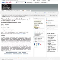 Theoretical and methodological issues in relationship research