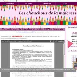 Méthodologie de l'Analyse de textes CRPE / Français - Les chouchous de la maicresse