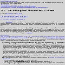 EAF… Méthodologie du commentaire littéraire