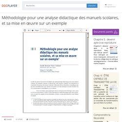 Méthodologie pour une analyse didactique des manuels scolaires, et sa mise en œuvre sur un exemple - PDF