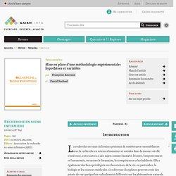 Mise en place d'une méthodologie expérimentale: hypothèses et variables