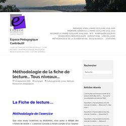 Méthodologie de la fiche de lecture… Tous niveaux… – Espace Pédagogique Contributif