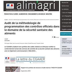 MAAF 25/11/15 Audit de la méthodologie de programmation des contrôles officiels dans le domaine de la sécurité sanitaire des aliments