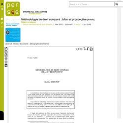 Méthodologie du droit comparé : bilan et prospective - Persée