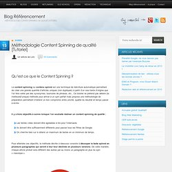 Méthodologie Content Spinning de qualité [Tutoriel]