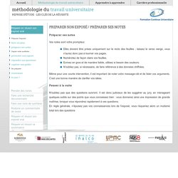 prendre des notes. Methodologie de travail universitaire