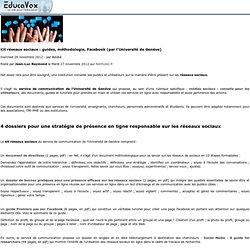 Kit réseaux sociaux: guides, méthodologie, Facebook (par l'Université de Genève)