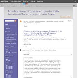 Résurgence et rémanence des méthodes au fil du temps: réflexion sur les méthodologies de l'enseignement de l'anglais en France