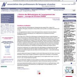 « Histoire des Méthodologies de l'enseignement des langues », ouvrage de Christian PUREN