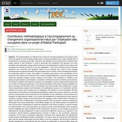 Contribution méthodologique à l'accompagnement au changement organisationnel induit par l'implication des occupants dans un projet d'Habitat Participatif