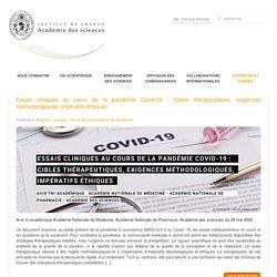Essais cliniques au cours de la pandémie Covid-19 : Cibles thérapeutiques, exigences méthodologiques, impératifs éthiques
